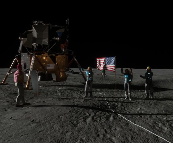 Apollo Moon Landing Astronauts Waving 2 Sansar 1 August 2017