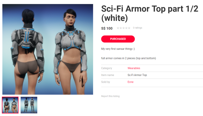 Listing for sci-fi armor 31 dec 2017