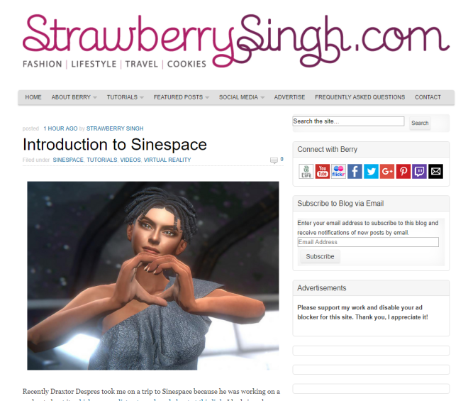 Strawberry Singh covers Sinespace 28 Feb 2018