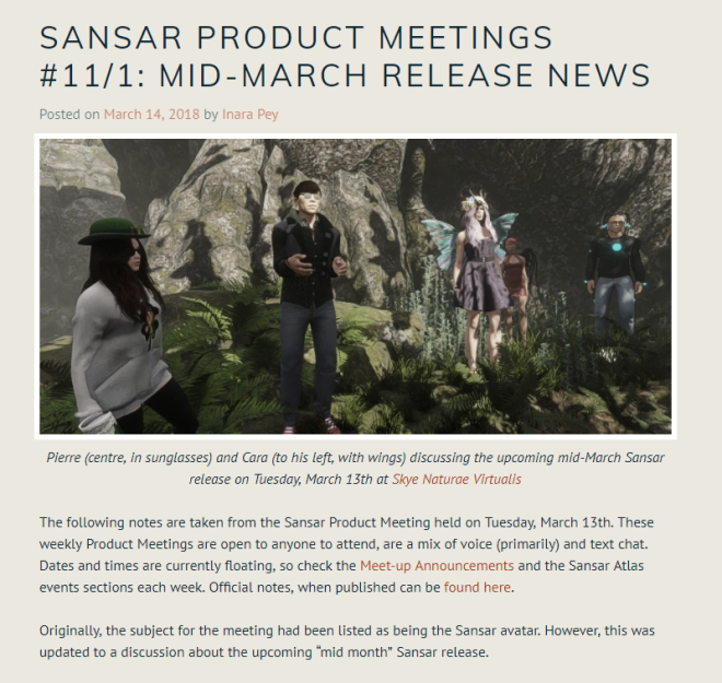 Sansar Product Meetup Report 14 Mar 2018