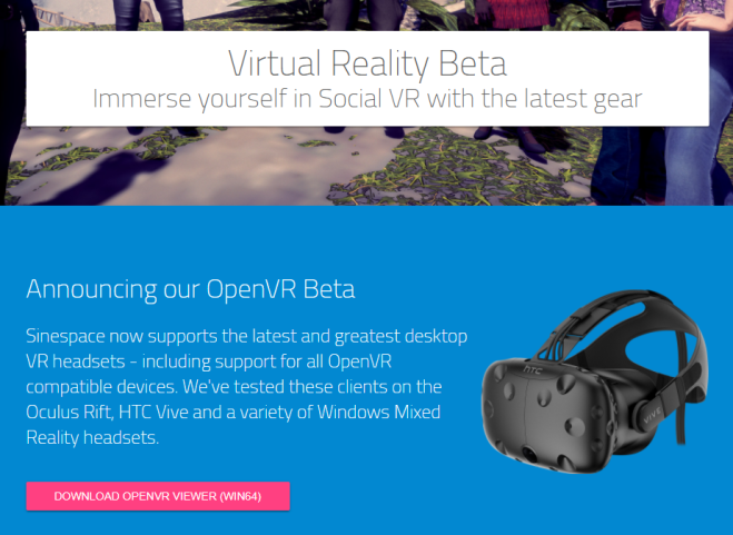 Sinespace VR beta 18 Mar 2018